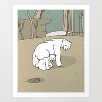 Polar Bear Mother and Son Art Print