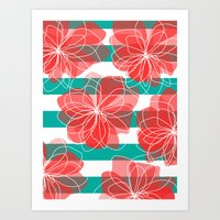 Camelia Coral And Turquo… Art Print