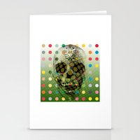 Op Art Skull With Multi-coloured Dots Stationery Cards