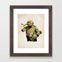 Polygon Heroes - Michelangelo Framed Art Print