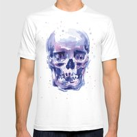 Skull Watercolor Mens Fitted Tee White SMALL