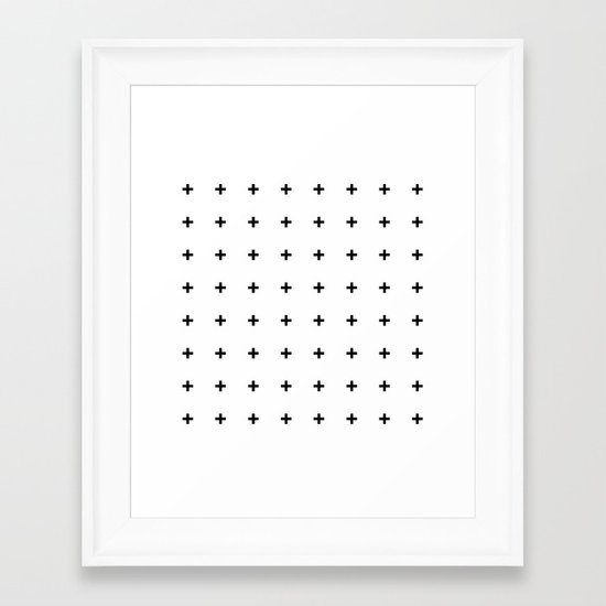 Black Plus on White /// www.pencilmeinstationery.com Framed Art Print