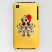 iPhone Cases featuring Red Day of the Dead Sugar Skull Baby Octopus by Jeff Bartels