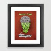Zombie Brains Framed Art Print