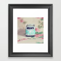 Aqua VW Bus With Roses Framed Art Print