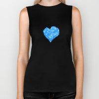 Winter Blue Crystallized Abstract Heart Biker Tank