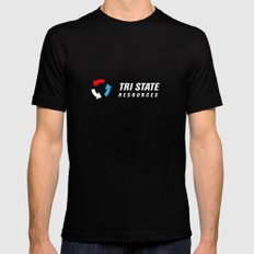 Tri State Logo Black Black SMALL Mens Fitted Tee