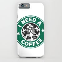 iPhone & iPod Case featuring I need a coffee! by John Medbury (LAZY J Studios)