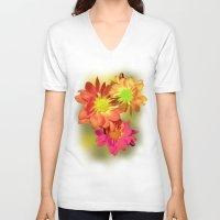 Pretty holiday orange daisy flower. Floral nature garden photography. Unisex V-Neck