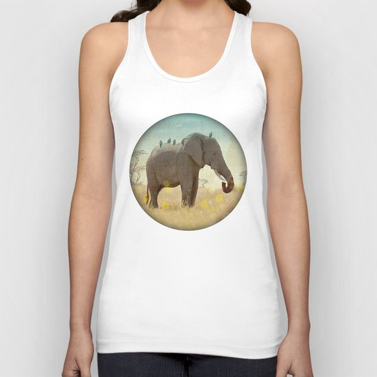 along for the ride _ an elephant and his feathered friends Unisex Tank Top