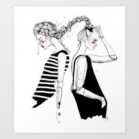 braided friends Art Print
