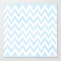 Floral Blue Chevron Pattern Canvas Print