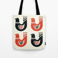 Folk Art Birds: Black and Red Tote Bag