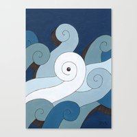 Mono Pattern | The Waves Canvas Print