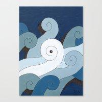 Mono Pattern | The Waves Canvas Print