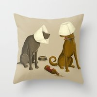 Drunk Dog Throw Pillow