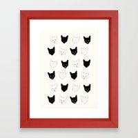 Cat Pattern Framed Art Print