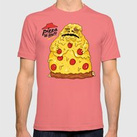 Pizza The Hutt Mens Fitted Tee Pomegranate SMALL