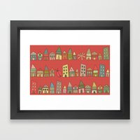 City {Housylands - Red} Framed Art Print