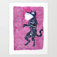 Black Dog Rampage Art Print