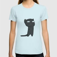 Black Cat Womens Fitted Tee Light Blue SMALL