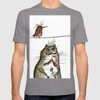 A Cat Ponders, Fish Or P… Mens Fitted Tee Tri-Grey SMALL