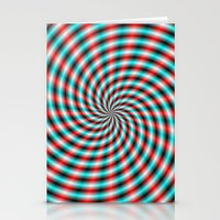 Turquoise And Red Spiral… Stationery Cards