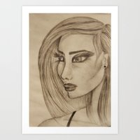 Woman with Big Lashes Art Print
