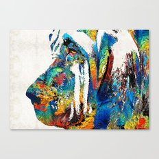 Colorful Bloodhound Dog … Canvas Print