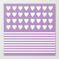 Heart Stripes Orchid Canvas Print