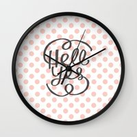 Hell Yes! (Peach) Wall Clock