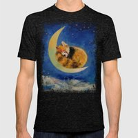 Red Panda Dreams Mens Fitted Tee Tri-Black SMALL