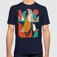 Flock Of Birds Mens Fitted Tee Navy X-LARGE