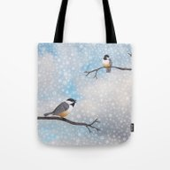 Chickadees In Snow Tote Bag