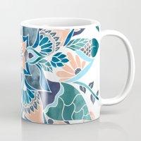 Modern coral blue watercolor floral illustration  Mug