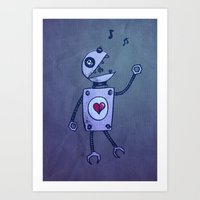 Happy Cartoon Singing Ro… Art Print