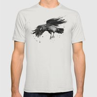 Raven Mens Fitted Tee Silver SMALL