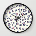 Navy & Coral Crystals Wall Clock