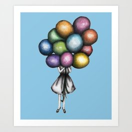 Art Print - Balloon Girl in Blue - ECMazur