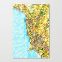 Map of Paphos District Canvas Print