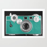 Teal retro vintage phone Art Print