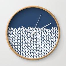 Half Knit Navy Wall Clock
