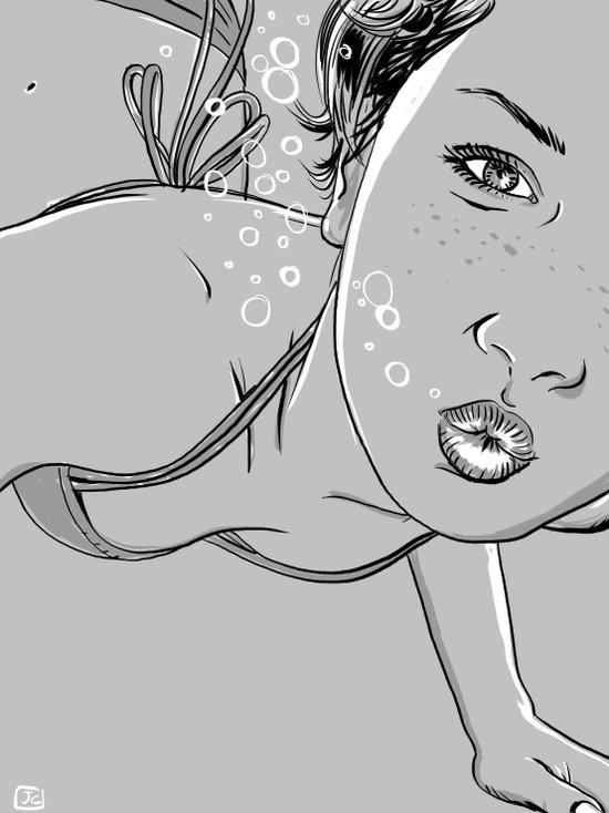 Underwater girl Art Print