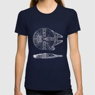 Millennium Falcon Womens Fitted Tee Navy MEDIUM
