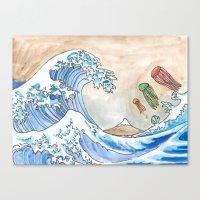 Hokusai's Wave vs. The Electric Jellyfish Canvas Print