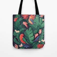Midnight Bird Jungle Tote Bag
