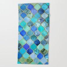 Cobalt Blue, Aqua & Gold Decorative Moroccan Tile Pattern Beach Towel