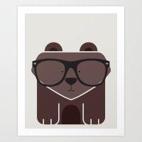 Hipster Bear Art Print Art Print
