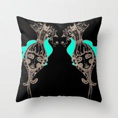 CrazyCatGirl Throw Pillow