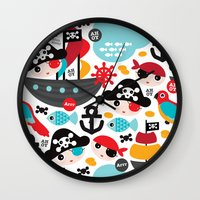 Cute kids pirate ship and parrot illustration pattern Wall Clock
